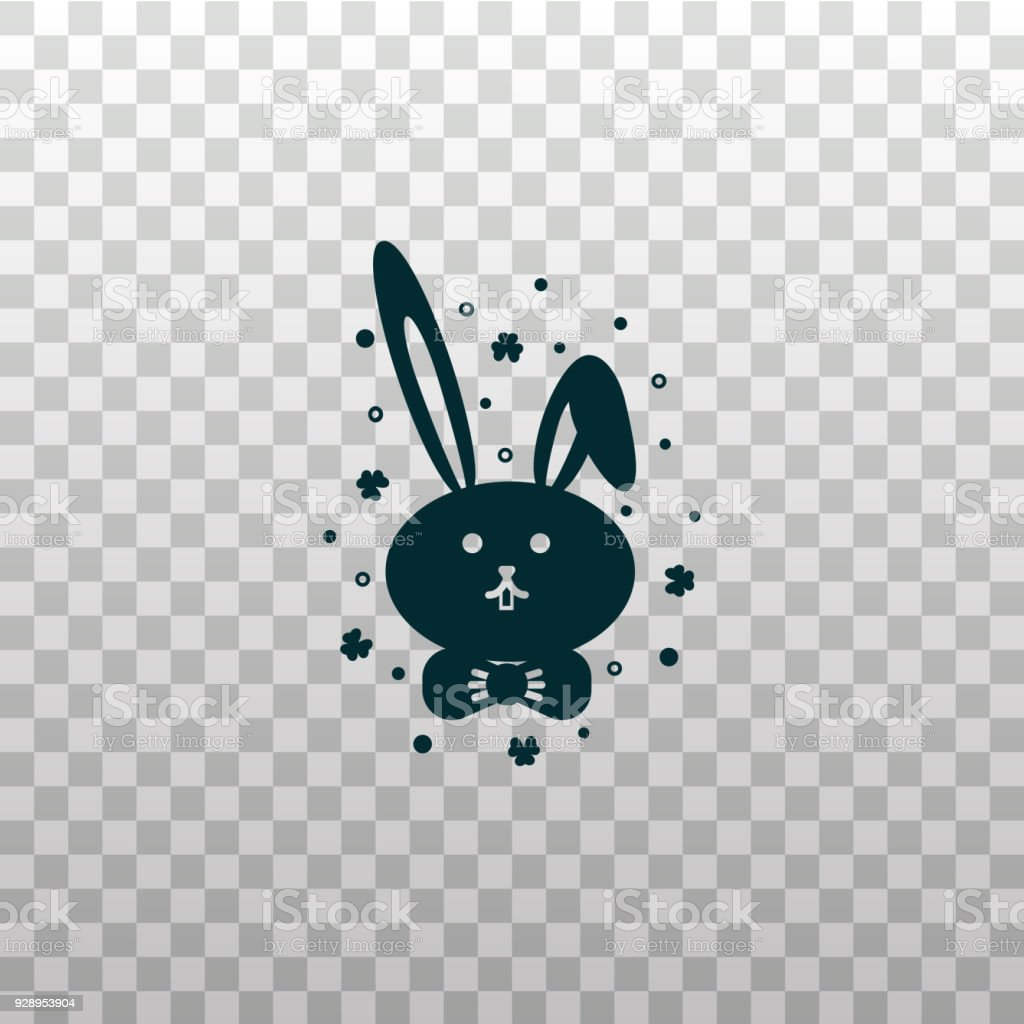Cute Bunny Rabbit Or Hare Face Black Silhouette Icon On Isolated