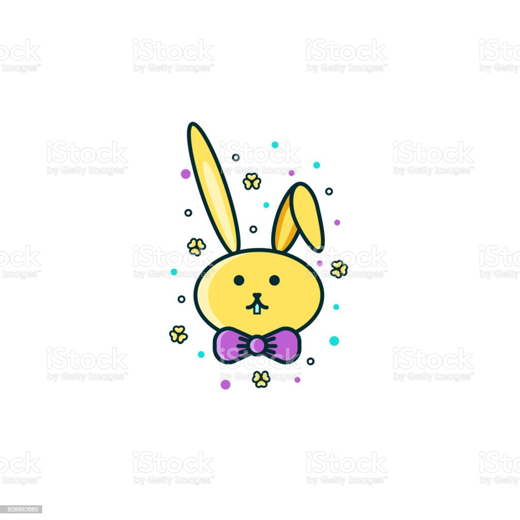 Cute Bunny Rabbit Or Hare Face Flat Color Line Icon On Isolated