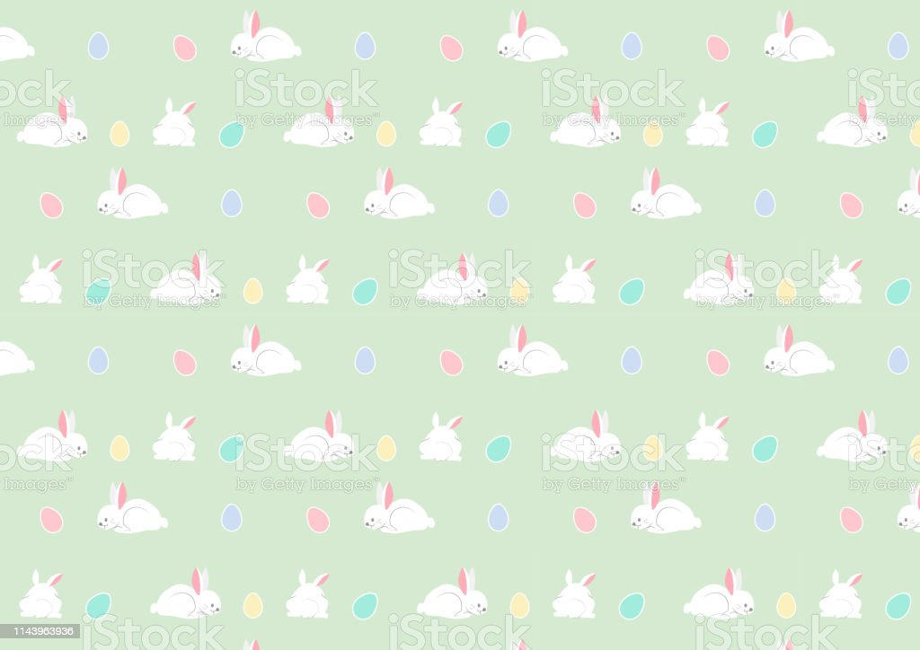 Cute Bunny Seamless Pattern Illustration Of Funny Easter Bunnies