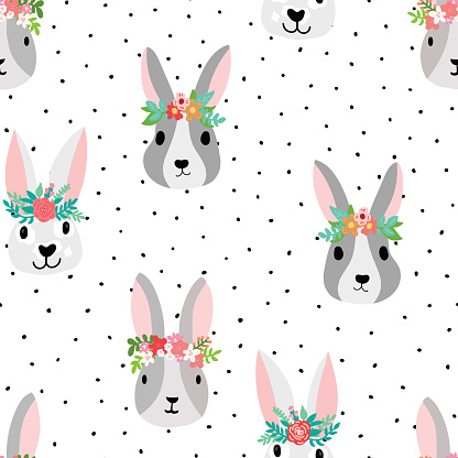 Cute bunny seamless Vector pattern with bunny heads wearing flower crowns. Sweet hand drawn nursery art seamless background. Dots Isolated on white with rabbits kids fabric, Easter, nursery decor