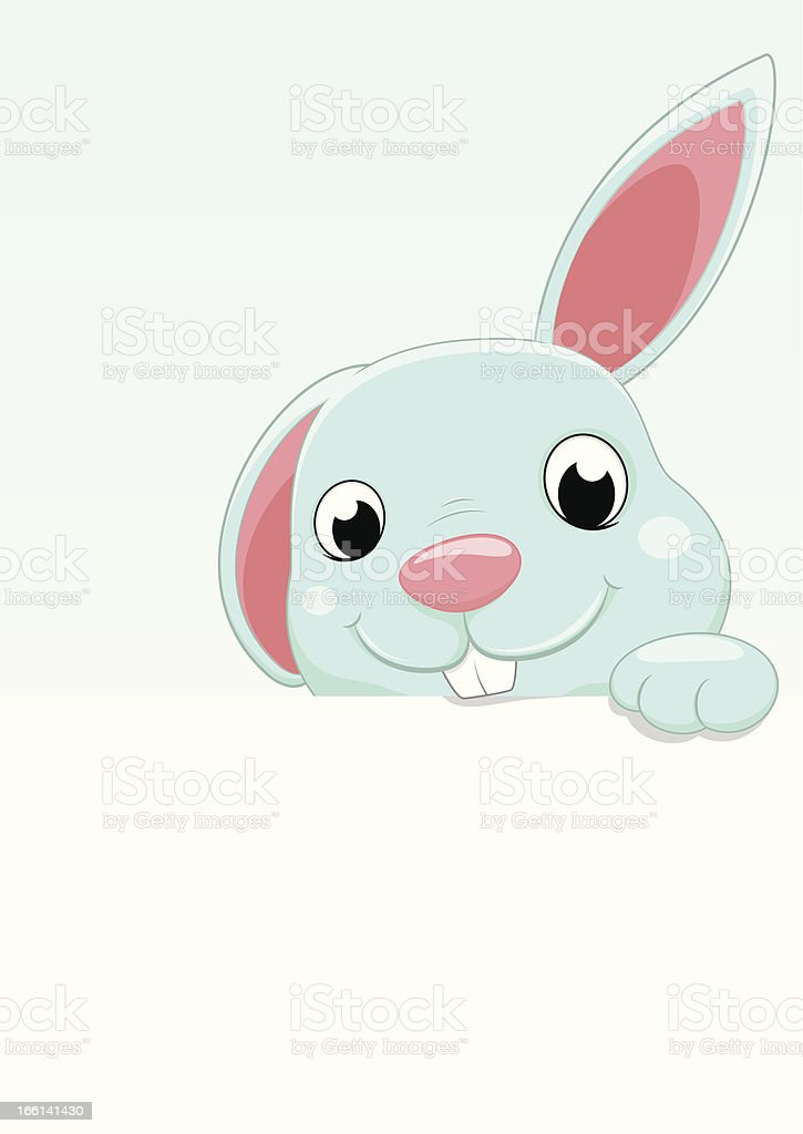 Cute Bunny With Blank sign royalty-free stock vector art