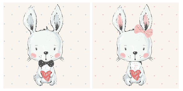 cute bunny with hart