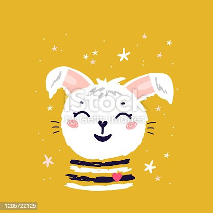 Cute Bunny with Stars. Easter Happy Rabbit Face. White Little Hare Vector Illustration. Scandinavian Print or Poster for Nursery, Baby Shower Greeting Card, T-shirt Print Design for Kids