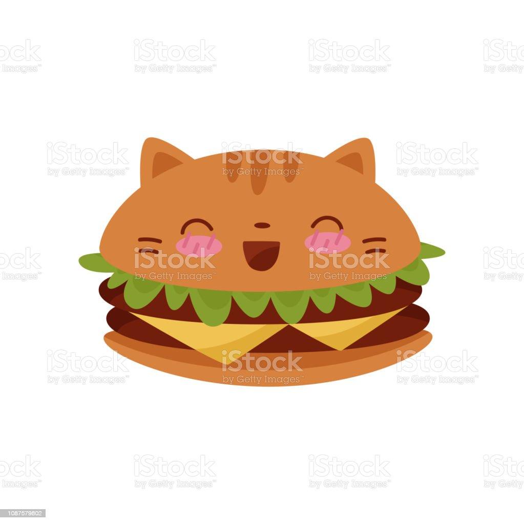 かわいいハンバーガーかわいい食品漫画文字ベクトル イラスト白背景に