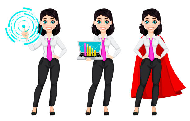ilustrações de stock, clip art, desenhos animados e ícones de cute businesswoman cartoon character - business woman hologram