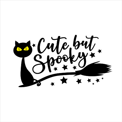 Cute but Spooky -Halloween vector illustration. Black cat in broom.