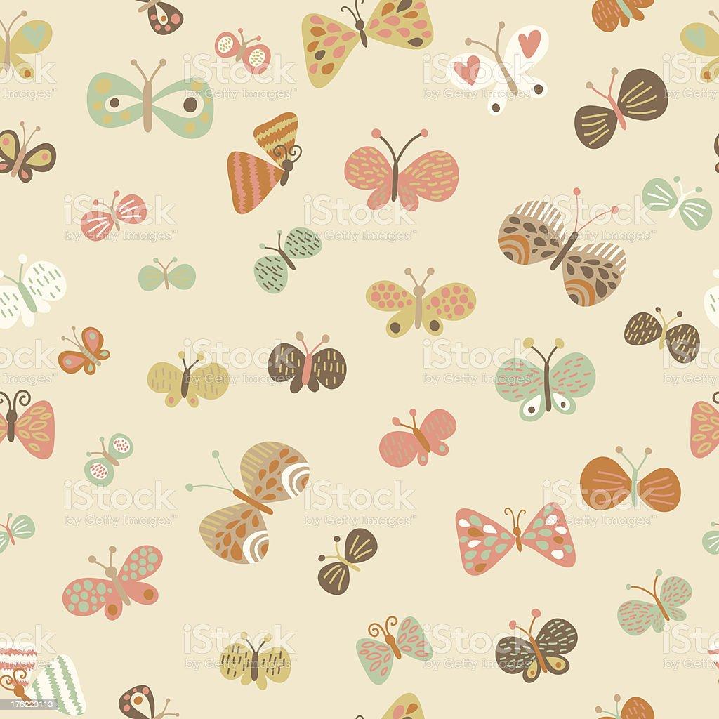 Cute Butterflies Wallpaper Stock Illustration