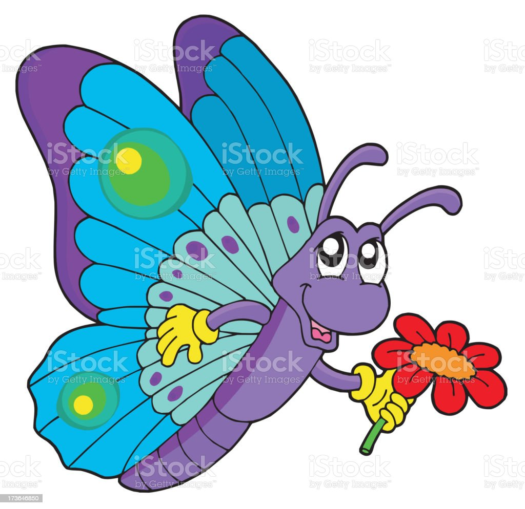 Cute butterfly holding flower royalty-free stock vector art