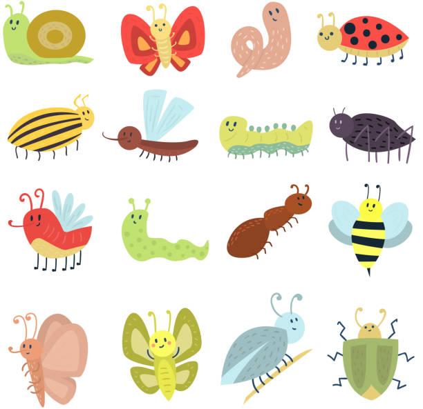 stockillustraties, clipart, cartoons en iconen met cute butterfly vector isolated on white - rups