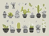 Cute cacti, flowerpots. Vector set. Cute doodles stickers.