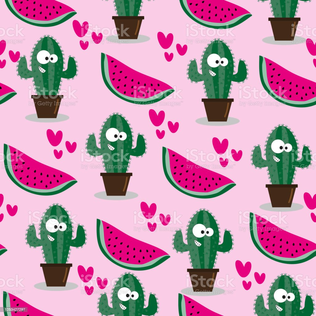 Cute Cactus And Watermelon Seamless Pattern Stock Illustration Download Image Now Istock