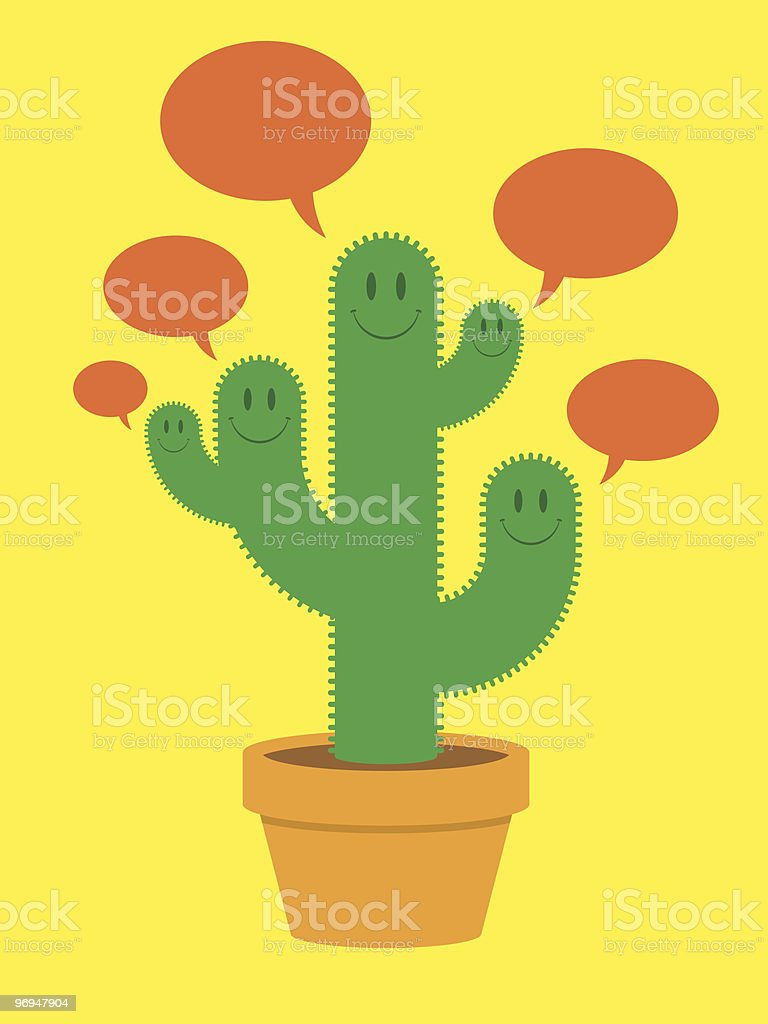 Cute cactus family with speech bubbles royalty-free cute cactus family with speech bubbles stock vector art & more images of cactus