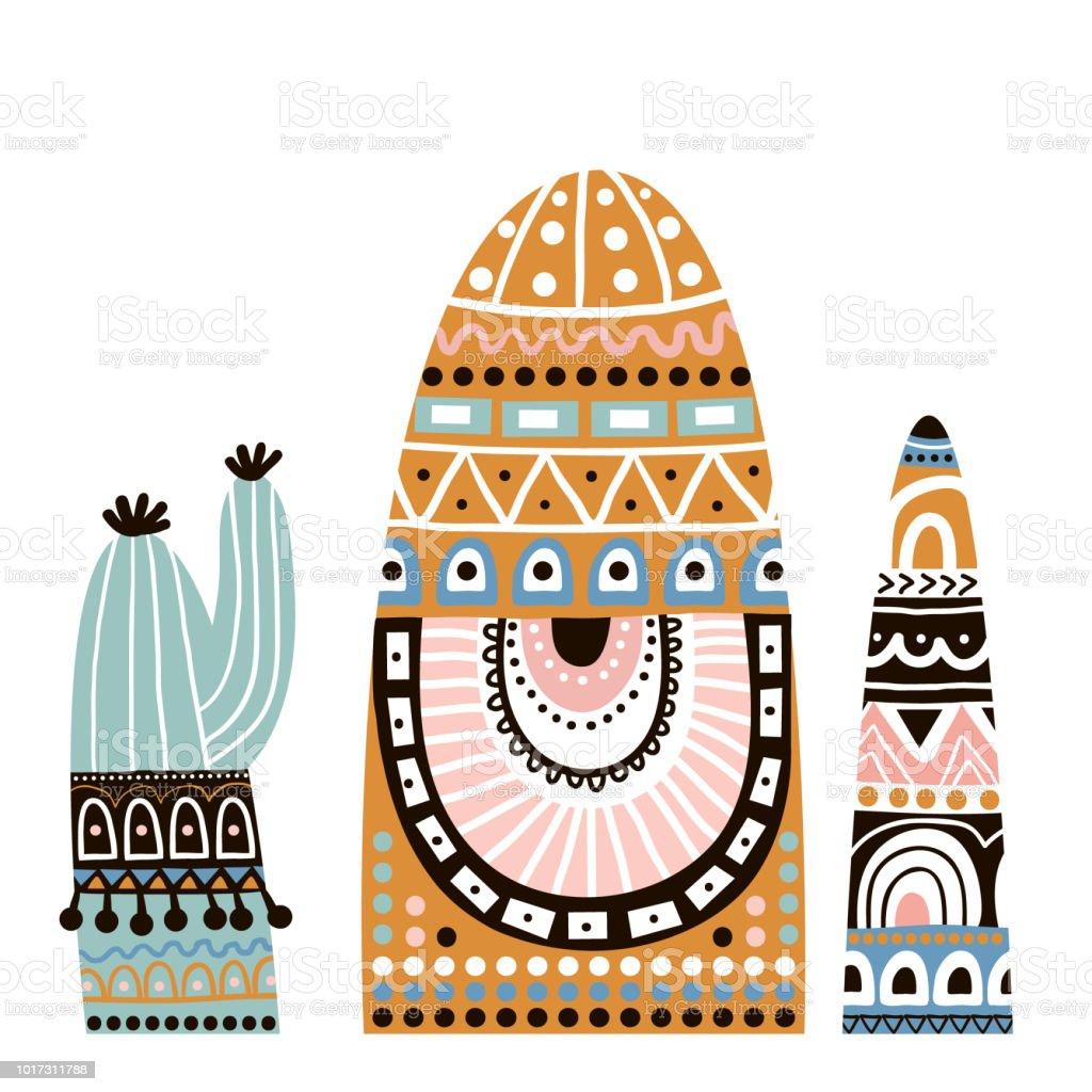 Cactuse lindo en conjunto de estilo tribal. Ilustración de vector - ilustración de arte vectorial