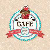 istock Cute Cafe And Bakery Shop Sticker With Cupcake and Ribbon 1264144451
