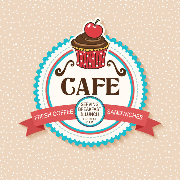 Cute Cafe And Bakery Shop Sticker With Cupcake and Ribbon vector art illustration