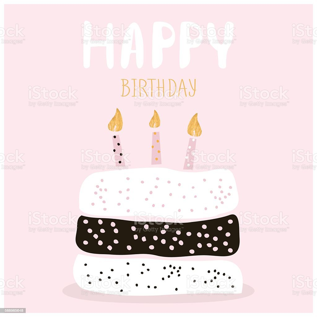 Cute Cake With Happy Birthday Wish. Greeting Card Template. Royalty Free  Cute Cake