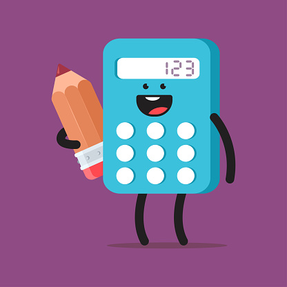 Cute calculator with pencil vector cartoon character isolated on background.