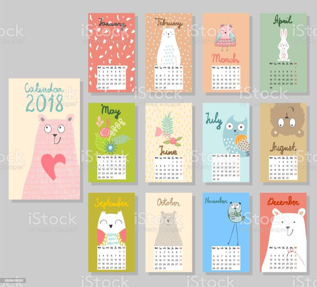 Niedlichen Kalender 2018. – Vektorgrafik