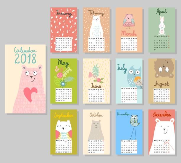 cute calendar 2018. - animals calendar stock illustrations, clip art, cartoons, & icons