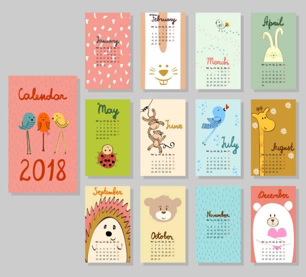 2018 年カレンダーかわいい。 - 動物のカレンダー点のイラスト素材/クリップアート素材/マンガ素材/アイコン素材