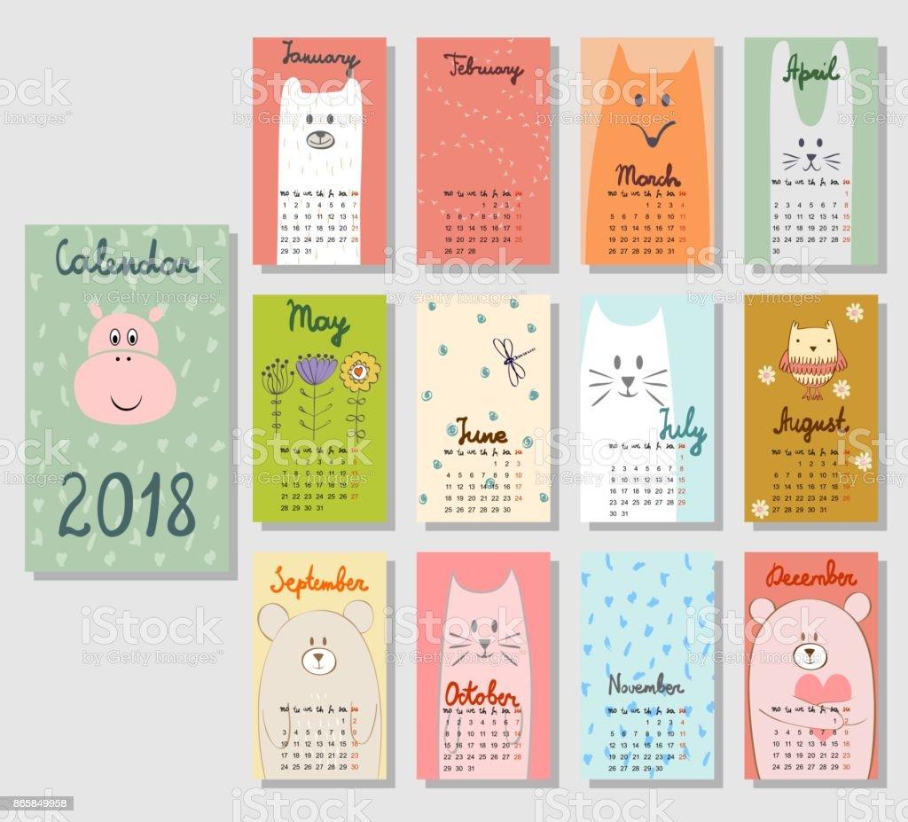 2018 年カレンダーかわいい。 ベクターアートイラスト