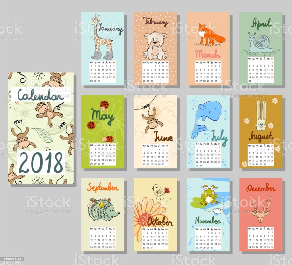 Joli calendrier 2018. - Illustration vectorielle