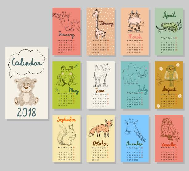 cute calendar 2018. - birds calendar stock illustrations, clip art, cartoons, & icons