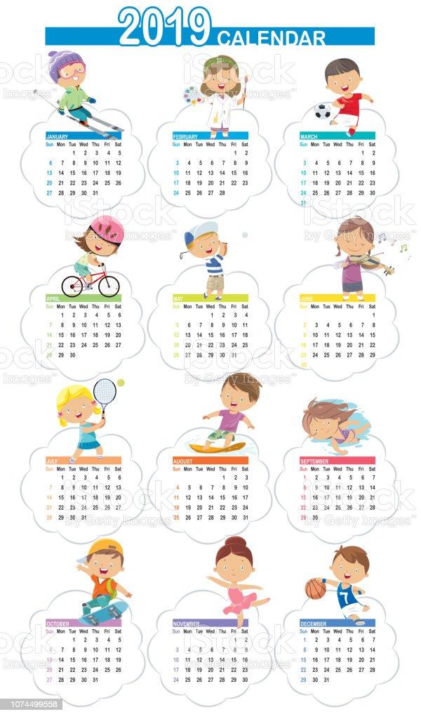 Ilustración De Dibujos Animados Lindo Calendario 2019 Y Más