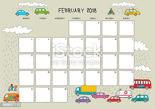 cute calendar and planner for february 2018 in a4 horizontal format