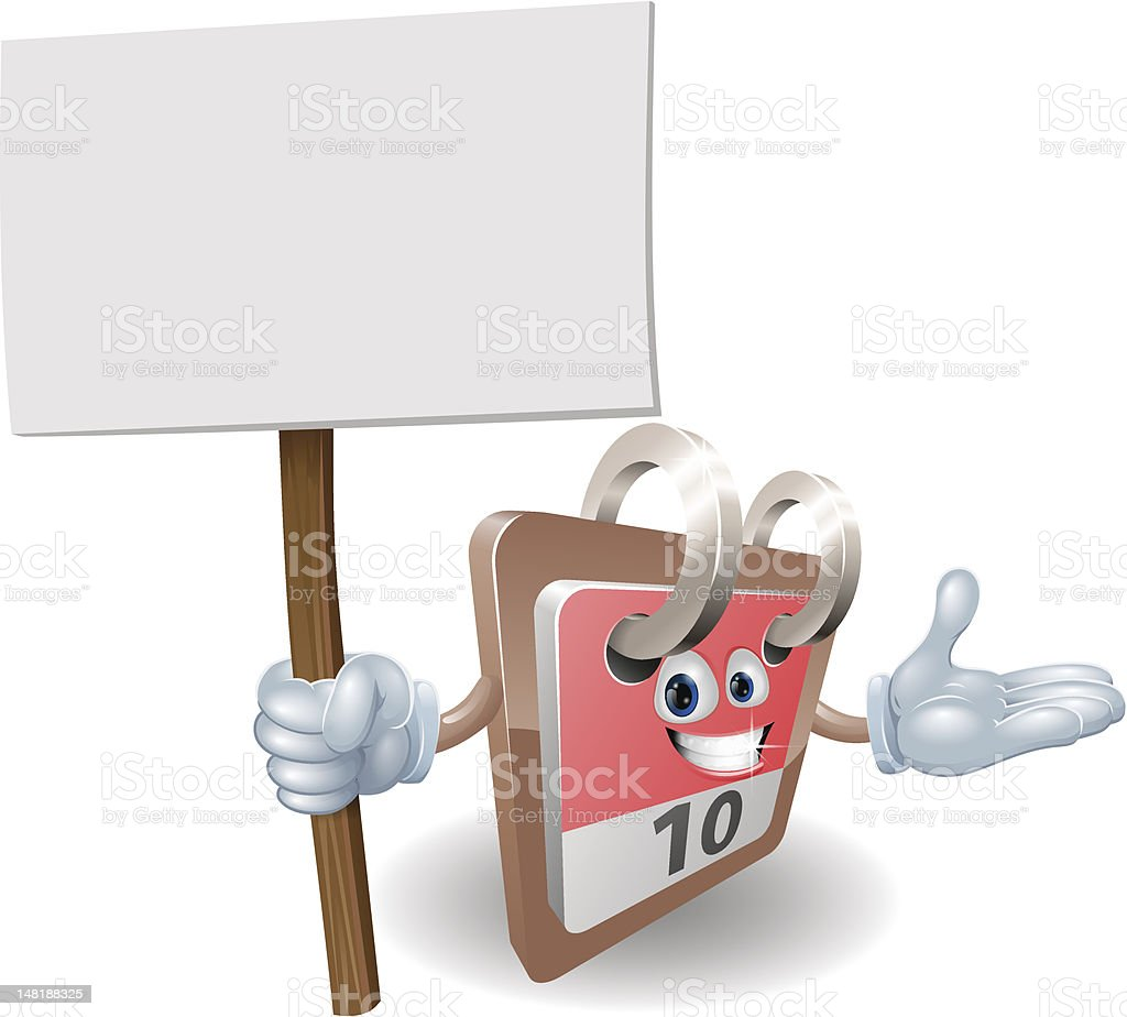 Cute calendar character holding a sign royalty-free stock vector art