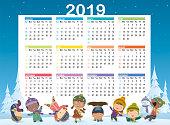 Vector 2019 Cute Calendar