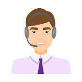 Cute call center operator avatar, boy in white shirt and blue tie. Flat style. Vector illustration on white background
