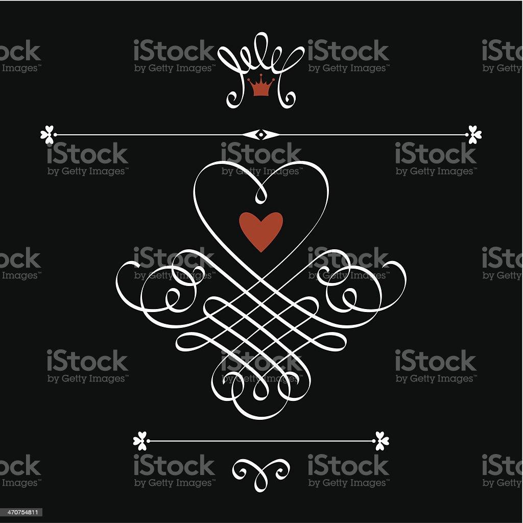 Cute Calligraphic Heart Crown Flourish Stock Illustration - Download