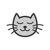 Cute calm sleeping cat cartoon illustration.