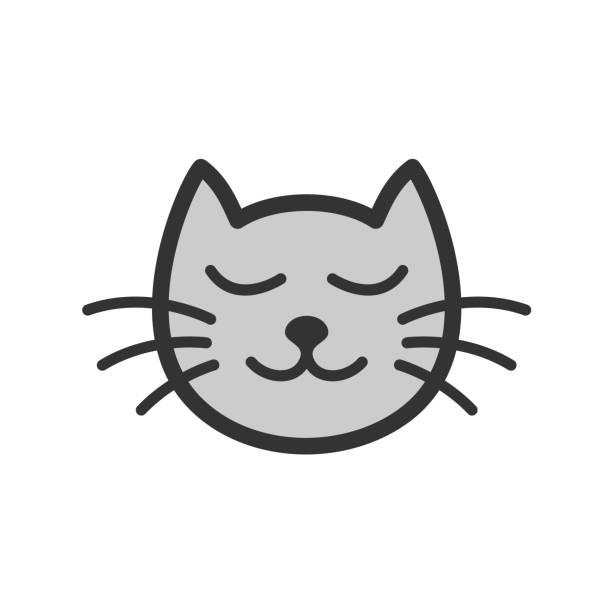 stockillustraties, clipart, cartoons en iconen met schattig rust slapende kat cartoon afbeelding. - miauwen