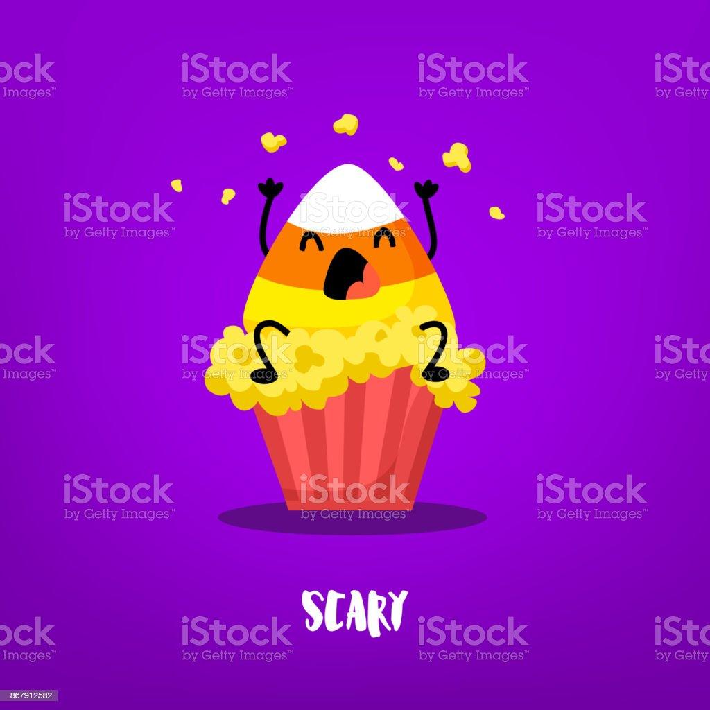 Maïs de bonbons mignon se trouve sur un seau avec pop-corn sur fond violet. Plat style. Carte de Halloween heureux avec émotion de peur. Vector. - Illustration vectorielle