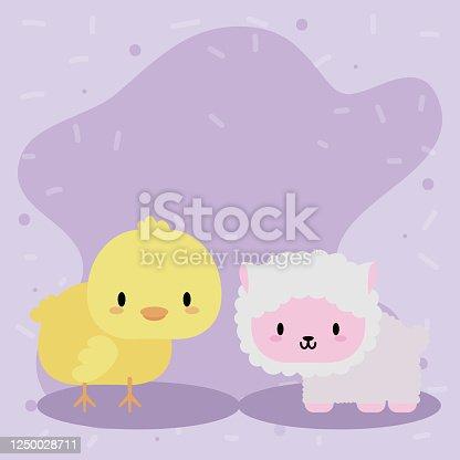 istock cute card chick and sheep, kawaii 1250028711