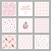 Cute card templates and seamless patterns set for girls. For birthday, wedding, baby shower, scrapbook, notebook cover design. Vector.