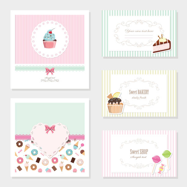 Cute card templates set with sweets. Cute card templates set. For sweet shop, bakery, scrapbook or birthday design. cake borders stock illustrations