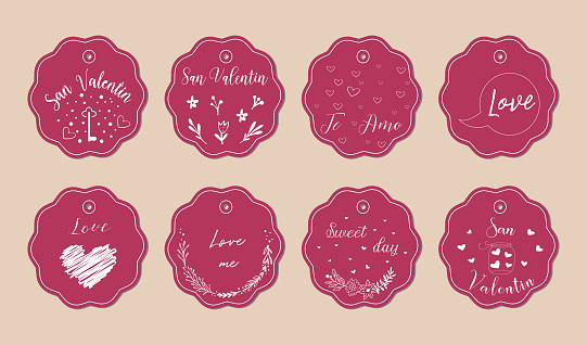 Cute card with doodle heart icons for valentines day, retro colors, vector illustration