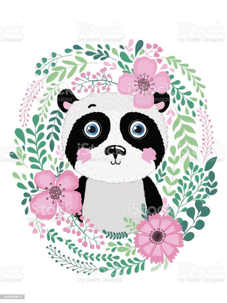 Cute card with hand drawn vector animal panda. For printing, print, poster, billboard, postcard and more. векторная иллюстрация