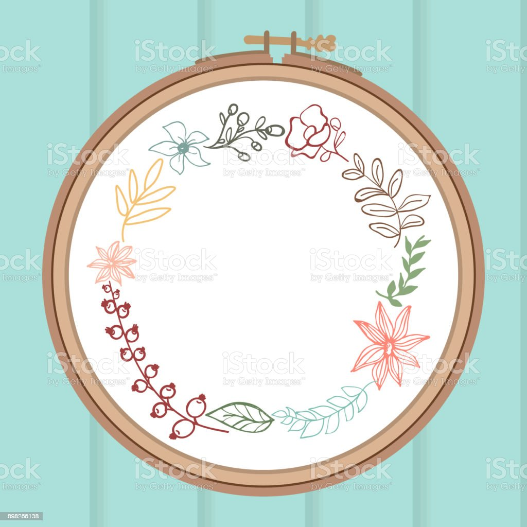 Cute Card With Laurel Flower Bouquet On Embroidery Frame Wooden ...