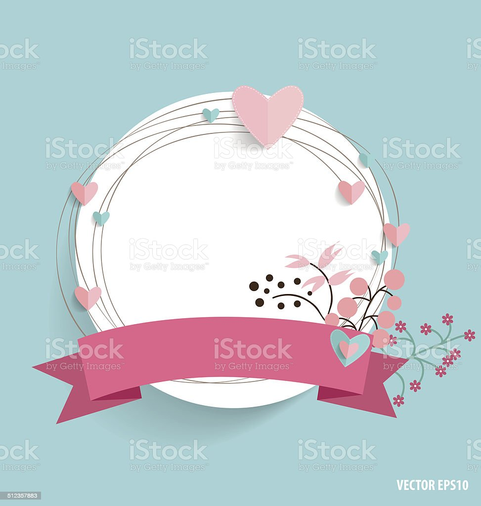 Cute card with ribbon and floral bouquets, vector illustration. vector art illustration