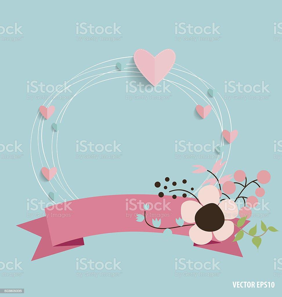 Jolie Carte Avec Coeur De Ruban Et Des Bouquets De Fleurs Vecteurs Libres De Droits Et Plus D Images Vectorielles De Abstrait Istock