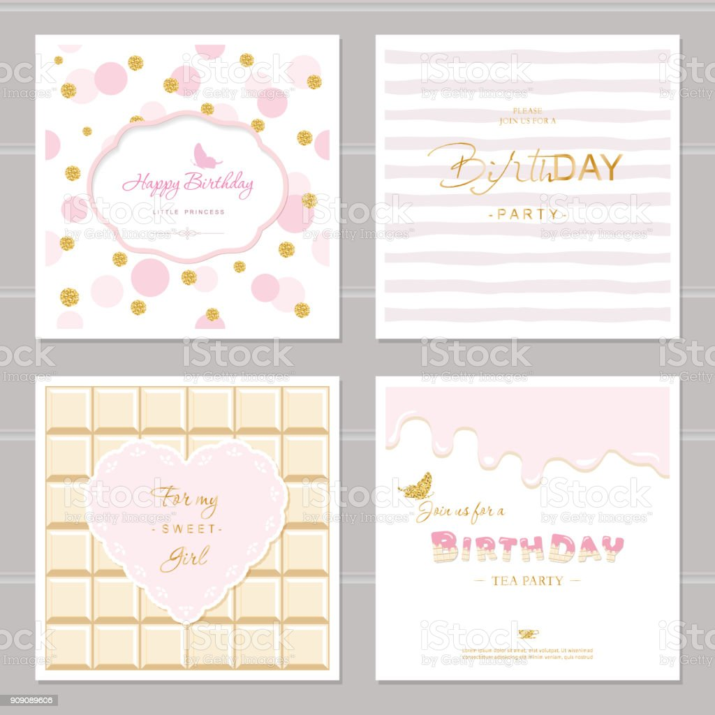 cute cards design with glitter for girls birthday party invitation