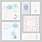 Cute cards for girls. Can be used for baby shower, birthday, babies clothes, notebook cover design. Watercolor style with gold glitter elements. vector