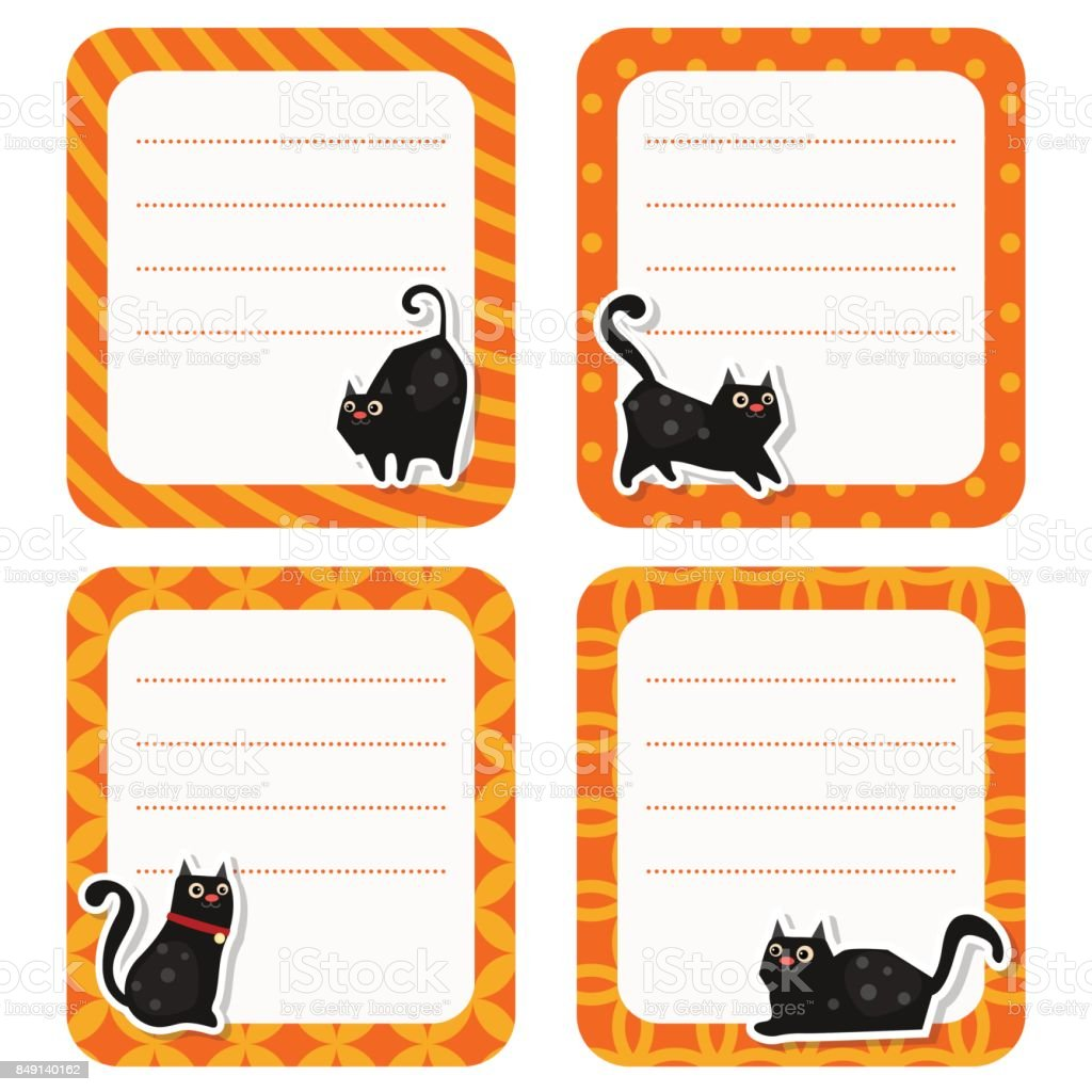 Cute cards or stickers with cat. vector art illustration
