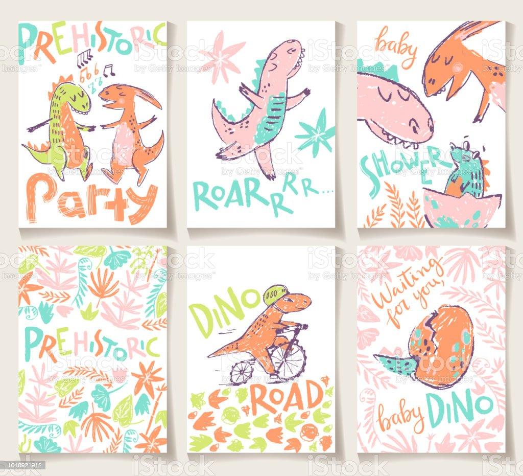 Ilustración De Lindas Tarjetas Con Los Dinosaurios