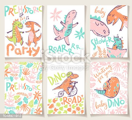 Cute cards with dinosaurs. Party invitation, baby shower, posters and prints. Vector illustration