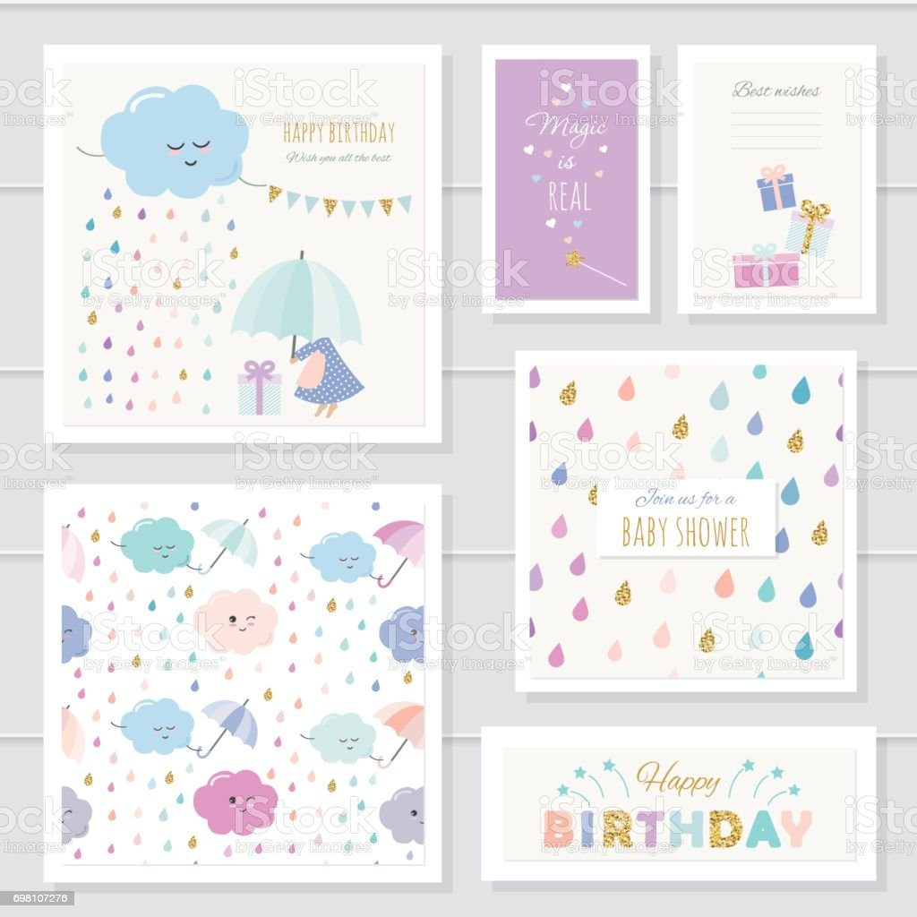 Cute cards with gold glitter elements for girls. For baby shower, birthday, babies clothes, notebook cover. Included two seamless patterns with rain drops and clouds. Watercolor. vector art illustration